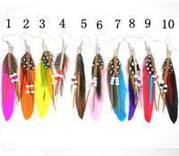 Wholesale 24pairs Fashion accessories beads feather earrings feather Drop earring