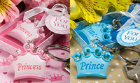 baby shower keychain favors - 2013 fashion Cute pink blue prince Crown Design Keychain Key Ring Favors Baby Shower Gifts for wedding festival party Decoration