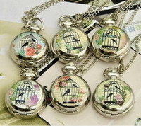 Wholesale 12pcs Retro Mini Pocket Watch Necklace amp Script Floral Bird Cage Fascia WE107 Dia cm Mix design