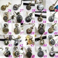 Wholesale Ship Free pieces mixed desin antique bronze pocket watch necklace pendant necklace mixed design acceptable