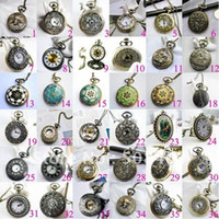 mens pocket watches - Free ship big mm mixed design Fashion Bronze tower pendant Women Mens pocket watch Free Long Necklace Gift