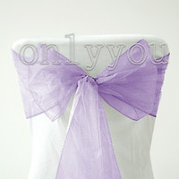Wholesale Super Hot Sale Good Quanlity Beautiful Lavender Wedding Party Banquet Chair Organza Sash Bow