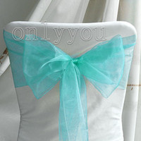 Wholesale Hight Quanlity On Sale off Beautiful Aqua Blue Wedding Party Banquet Chair Organza Sash Bow