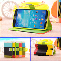 Leather For Samsung For Christmas High Quality Colorful Wallet Leather Case Cover For Samsung Galaxy Mega 6.3 i9200 Case Covers With Hand Strap 10pcs lot HK Post