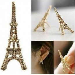 New Vintage Punk Style Gold Silver Tone Eiffel Tower Stud Earrings Stud Jewelry 24pairs Lots HS4