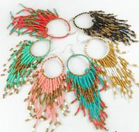 bead hoops - 2013 New Vintage Ethnic Bosnian Beads Tassel Earring Hoop Earrings Punk Jewelry ZM1