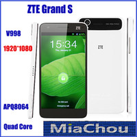WCDMA English Android 4.2 ZTE Grand S Athena V988 Qualcomm APQ8064 Quad Core 5.0 Inch Android 4.1 Smart Cell Phone WCDMA 3G GSM 2GB RAM 16GB 13.0MP FHD 1920*1080