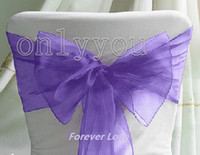 Wholesale 30 OFF Free DHL For Beautilful Purple Wedding Party Banquet Chair Organza Sash Bow chair Decor