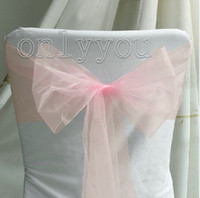 Wedding banquet items - Hot Sale Item High Quantity Pink Wedding Party Banquet Chair Organza Sash Bow