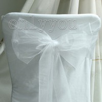 Wholesale 30 OFF and Good Quanlity beautiful White Wedding Party Banquet Chair Organza Sash Bow Free DHL For Bulk Quantity