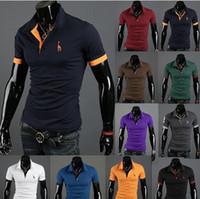 Wholesale Drop shipping2013 New Mens T Shirt Men s Short Sleeve T Shirt slim fit Polo shirt cotton colors size RD822
