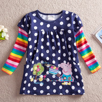 Wholesale F2178 Navy Hot Peppa pig Nova kids wear polka dot overall printed baby girls cotton long sleeve tunic tops t shirt dress