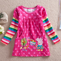 Wholesale 4 colors choose nova kids clothing factory embroidery peppa pig dress t shirt baby long sleeve polkadot girl dresses for autumn winter F2178