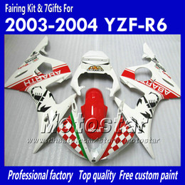 7 Gifts fairing kit for YAMAHA 2003 2004 YZF-R6 03 04 YZFR6 YZF R6 YZF600 red in white fairings set OO18