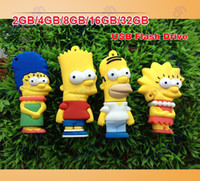 Wholesale 2GB GB GB GB GB simpsons Cartoon USB Flash Memory Pen Drive Sticks Thumb Drives Disks Pendrives Thumbdrives