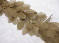 Wholesale Khaki yard quot beautiful Flower Leaf Shape Lace Chiffon Fabric Trim DIY Bridal wedding Doll More Colors