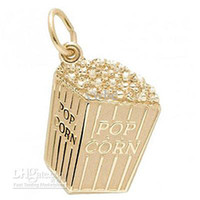China (Mainland) Zinc Alloy yes free shipping 100pcs a lot the gold \ rhodium plated pop corn charm (H104905)