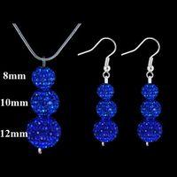 Wholesale New Style Shamballa jewelry set Kinds Disco Ball Crystal Beads Pendant Necklace amp Earrings Set Sets