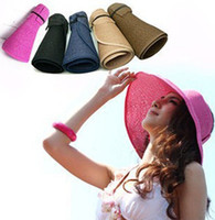 Visor   Fashion Woman Wide Brim Roll Up Sun Straw Beach Hat Visor Cap Foldable