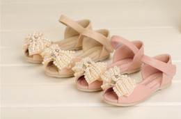 Wholesale New Arrivals Pairs Girls Bow Sandals Children Summer Beige Shoes Beading Ballet Flats Girls Bow Shoes Pink Sandals AL13061818