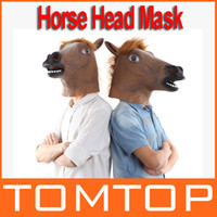 Wholesale New Creepy Funny Latex Horse Head Mask Halloween Costume Party Christmas Theater Prop Novelty Freeshipping H9492