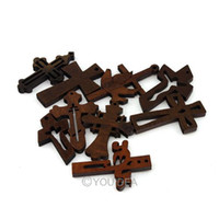 Wholesale Mixed Designs Wooden Cross Pendants Fit Necklaces Bracelets Jewelry Findings