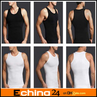 Cotton Men Sleeveless Men's Slimming Body Shaper Belly Fatty Underwear Vest Shirt Corset Compression Black And White