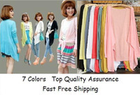 Wholesale women Candy Color cardigan Fashion Casual Style knitted tops School Girls Pink Blue anti uv beach clothes female cape Clothes Sweaters