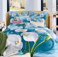 Wholesale Rustic d oil painting personalized bedding cotton four piece set activity blue calla d bedding set