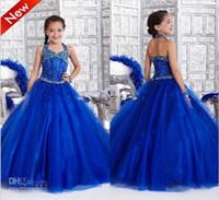 Wholesale New Arrivals Girl s Pageant Dress Halter Ball Gown Floor Length Beads Sequins Girl s DressesTF