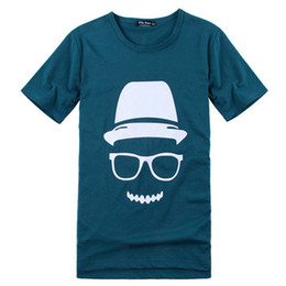 Wholesale new arrival men s cute print tee T shirt dark blue black plus sizeL XL drop shipping MTS033