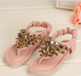 Wholesale New Arrivals Pairs Girls Sandals Kids Summer Falts Baby Fashion Shoes Girls Flops Shoes Baby Rhinestone Flops AL130618026