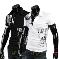 Men Cotton Polo Free shipping 2013 new men's letters printed short-sleeved POLO shirt cotton high-quality short-sleeved T-shirt M - XXL