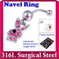Wholesale Min Order Rabbit Surgical Steel Body Piercing with Imitate Pearl In Stock W19974Y66