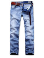 Wholesale HOT retail amp brand JEANS BLUE Leisure amp Casual s Newly Style Straight Cotton Men Jeans