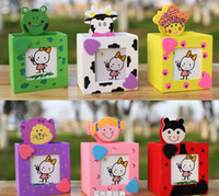 Wholesale 6pcs multi function photo card holder Creative cartoon wooden pencil vase
