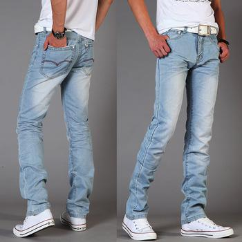 Summer Men's Jeans Slim Fit S Water Wash White Light Blue Jeans ...