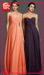 Wholesale In Stock Allure off Coral Purple Sweetheart Chiffon Pleated Long Bridesmaid dresses evening prom Formal Dress Gown