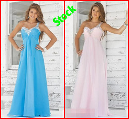Wholesale In Stock Blush Blue One shoulder Crystal Bling Beads backless Cheap Bridesmaid dresses evening prom Formal Dress Gown