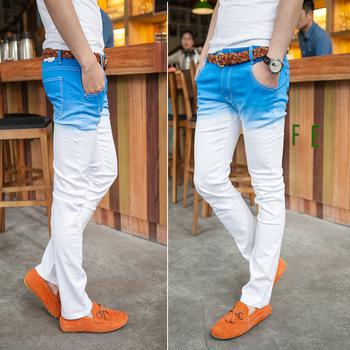 Best Quality Light Blue Color Jeans Male Dip Dyeing Elastic Skinny