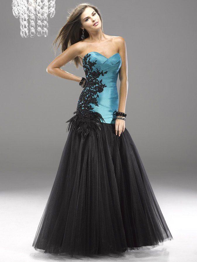 Black feather evening dresses