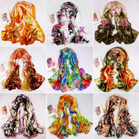Wholesale 2013 New Women s Fashion Satin oil painting Long Wrap Shawl Beach Silk Scarf
