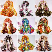 Wholesale New Women s Fashion Satin oil painting Long Wrap Shawl Beach Silk Scarf