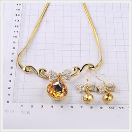 noble gold red diamond wedding necklace earings