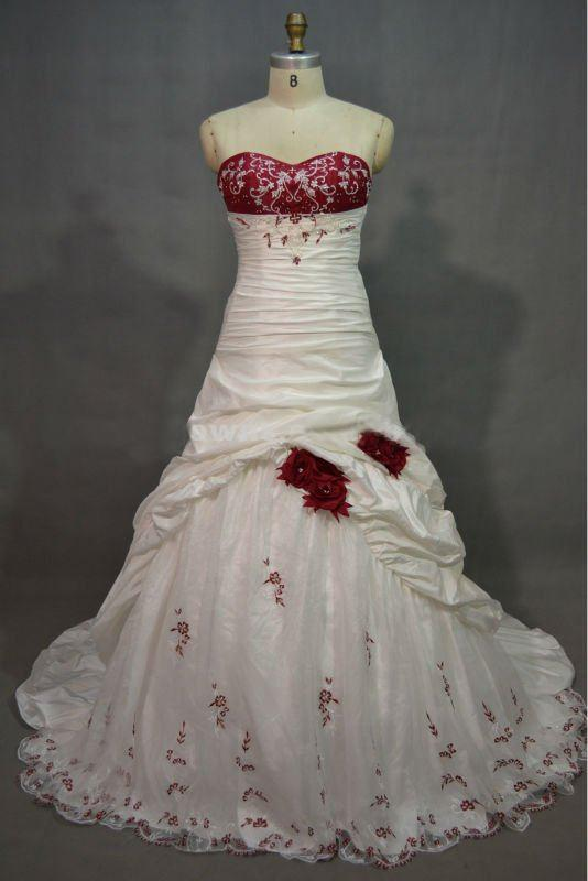 Unique White And Red Hand Made Flower Wedding Dress From Nuosendewedding 121