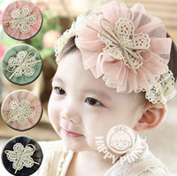 Wholesale Korean Style Children Baby Girls Fancy Lace Big Flowers Bow Center Hairbands Kids Colorful Floral Eyelet Hair Accessories B0491