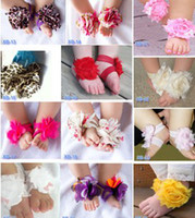 Wholesale Toddler Multicolored Flowers Sandals Baby Barefoot Sandals Foot Flower Foot Ties Girls Toddler Shoes B0493