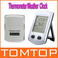 Wholesale Digital Wireless Indoor Outdoor Thermometer Weather Station Clock For Home Garden Freeshipping H9350