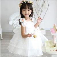 Wholesale New Arrival Girls Wedding Dress Short Sleeve Flowers Bowknot Ball Gown Princess Dress Organza Knee length Jewel Bridesmaid Dress White