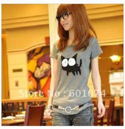 Wholesale Summer new Korean Womens Lady cute cat s collar short sleeve T shirt top tee